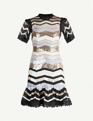 NEEDLE AND THREAD Alaska striped sequinned mini dress