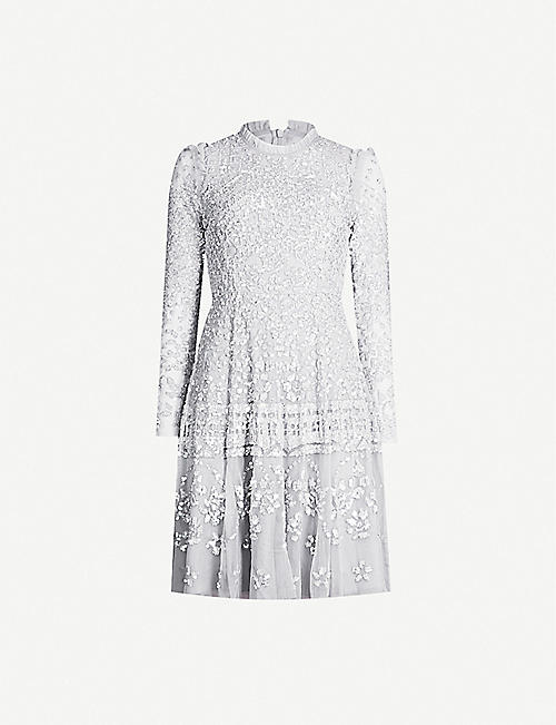 NEEDLE AND THREAD Aurora sequin-embroidered long-sleeved tulle dress