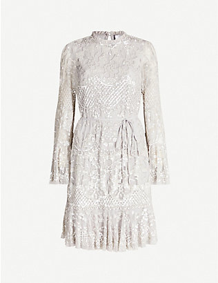 NEEDLE AND THREAD: Snowdrop sequin-embroidered mesh mini dress
