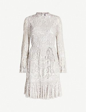 NEEDLE AND THREAD Snowdrop sequin-embroidered mesh mini dress