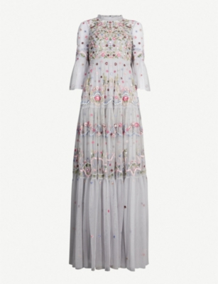 NEEDLE AND THREAD Dreamers floral-embroidered tulle gown