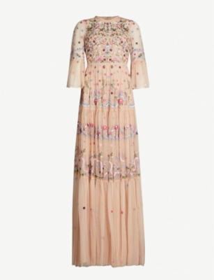 NEEDLE AND THREAD Dreamers floral-embroidered tulle dress