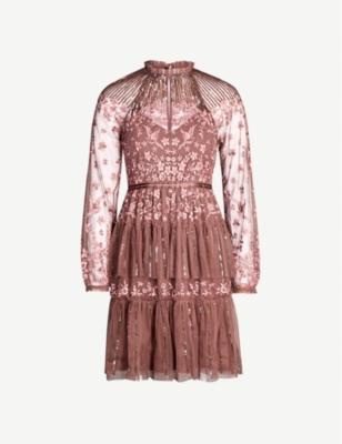 Starling semi-sheer tulle and lace mini dress - Merlot