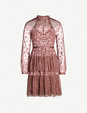 NEEDLE AND THREAD Starling semi-sheer tulle and lace mini dress