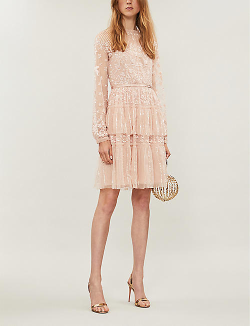 NEEDLE AND THREAD Starling semi-sheer sequin-embellished crepe mini dress