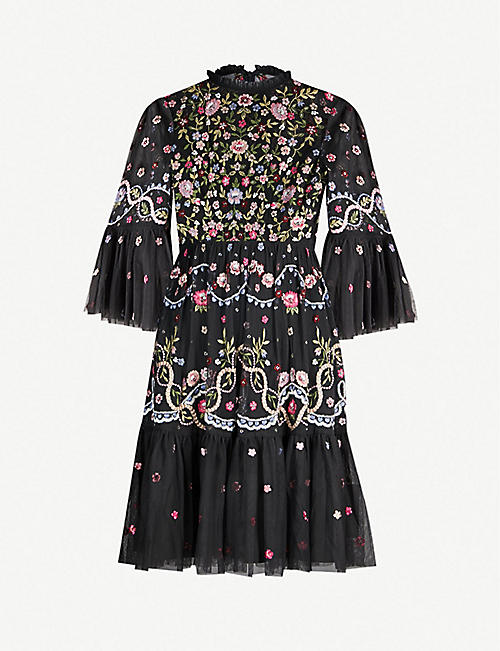 46e64c3ec9399 NEEDLE AND THREAD Dreamers floral-embroidered tulle dress