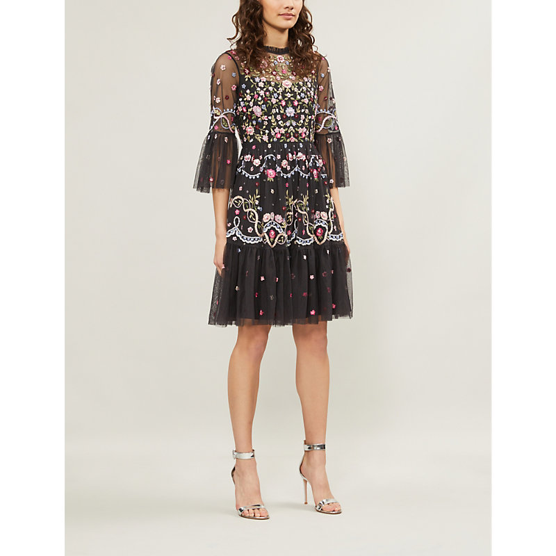 NEEDLE & THREAD | Dreamers Floral-Embroidered Tulle Dress | Goxip
