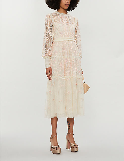 NEEDLE AND THREAD Whitethorn floral-embroidered tulle midi dress