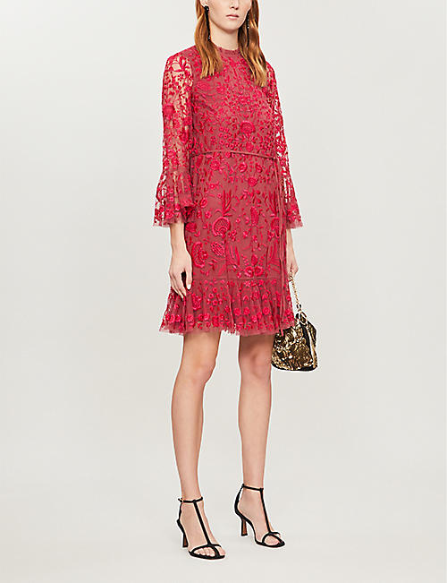 NEEDLE AND THREAD Demetria floral-embroidered mesh mini dress