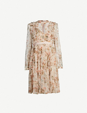 NEEDLE AND THREAD Garland Flora floral-print long-sleeved tulle dress