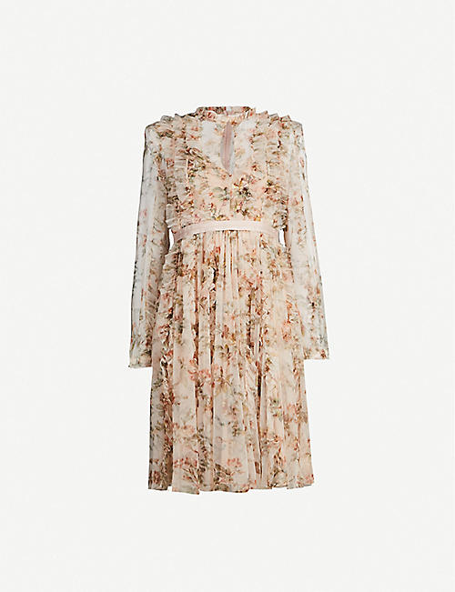 5ea3eaf056c46e NEEDLE AND THREAD Garland Flora floral-print long-sleeved tulle dress