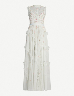 NEEDLE AND THREAD Shimmer Ditsy embroidered tulle gown