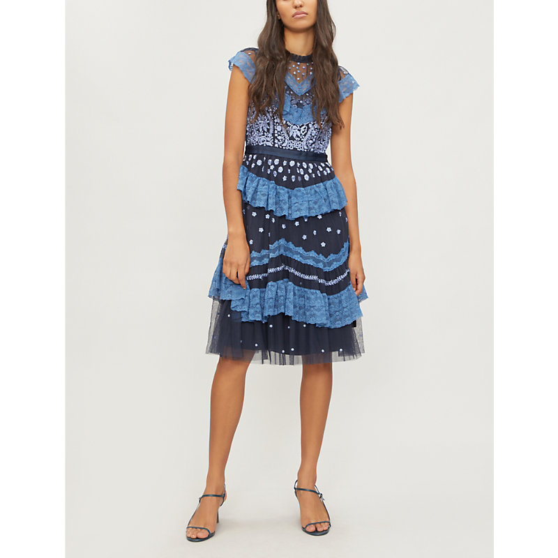 Astra Embroidered-Tulle Dress in Dust Navy