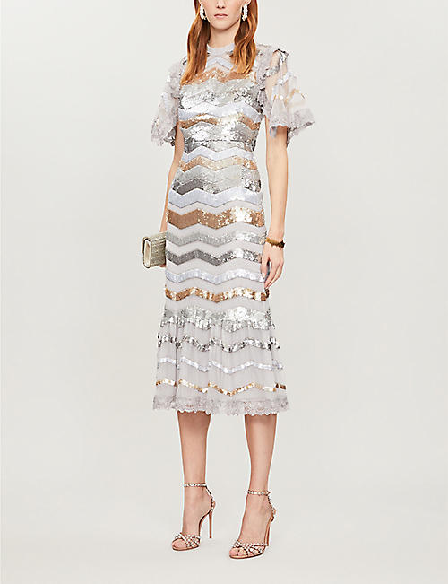 NEEDLE AND THREAD Alaska striped sequin-and-tulle midi dress