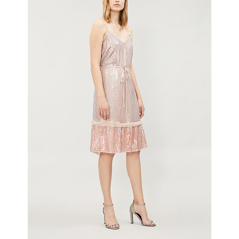 NEEDLE & THREAD | Gloss Sequin Sequin And Mesh Dress | Goxip