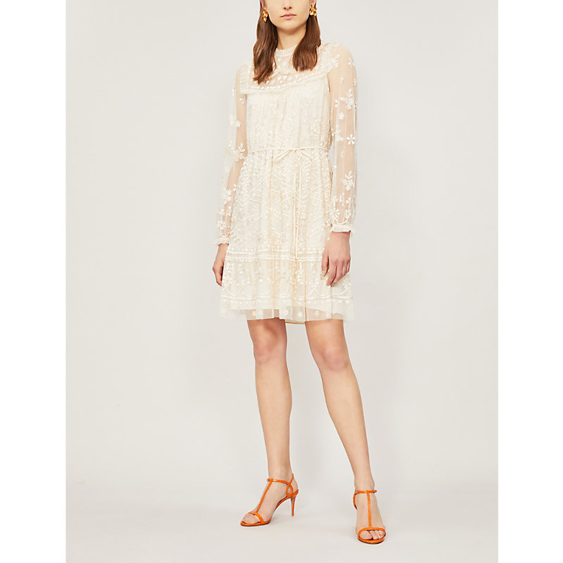 NEEDLE & THREAD | Esme Floral-Embroidered Long-Sleeved Tulle Mini Dress | Goxip