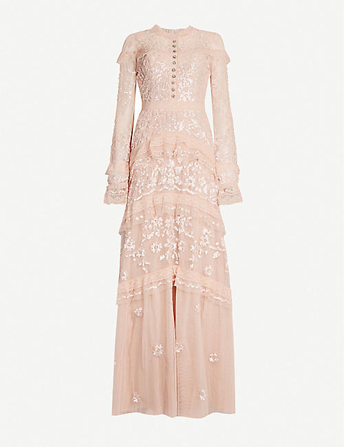 NEEDLE AND THREAD Ava flora-lace sequin-embellished tulle gown