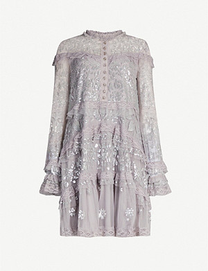 NEEDLE AND THREAD Ava flora-lace sequin-embellished tulle mini dress