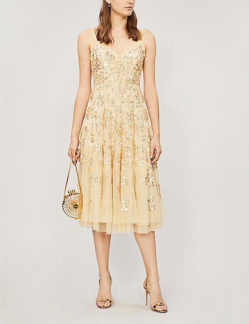 NEEDLE AND THREAD Valentina sequin-embroidered sleeveless tulle dress