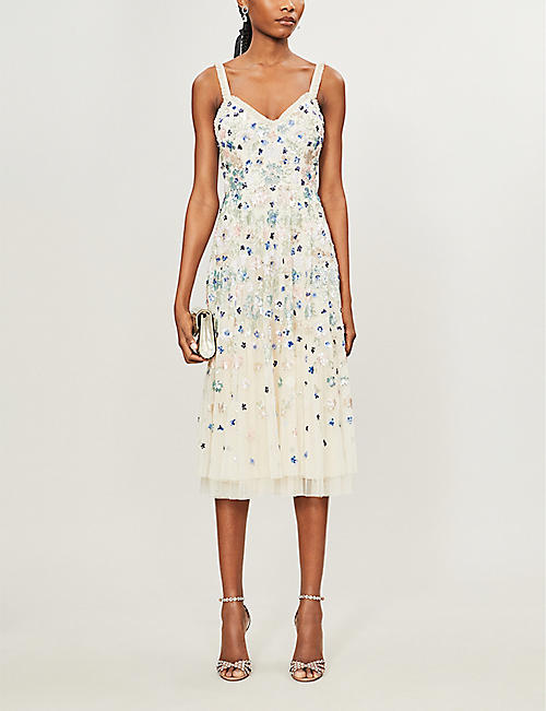 NEEDLE AND THREAD Wildflower embellished sequin and tulle midi dress