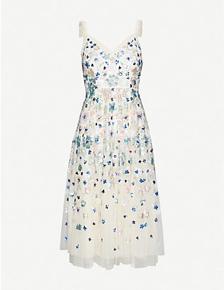 NEEDLE AND THREAD: Wildflower embellished sequin and tulle midi dress