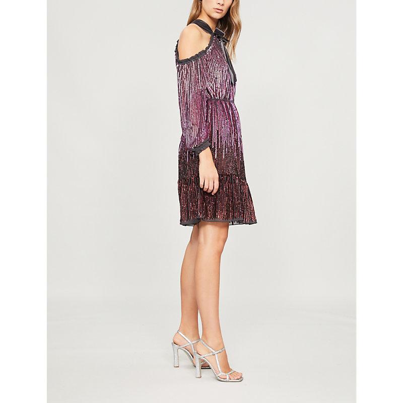 NEEDLE & THREAD Kaleidoscope Sequin Cold-Shoulder Short Dress in Graphite