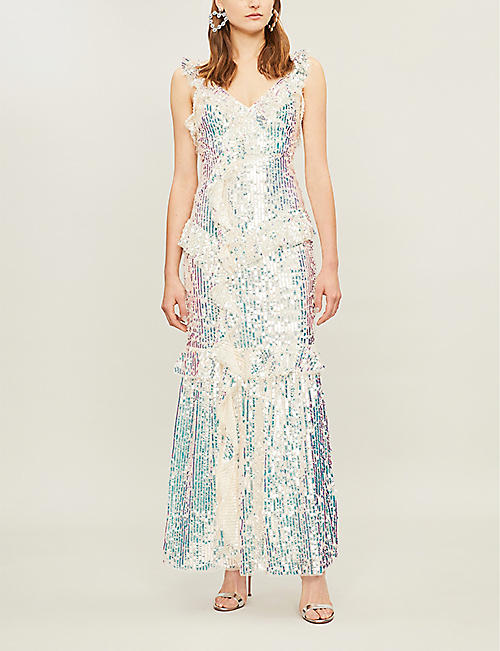 NEEDLE AND THREAD Scarlett frilled V-neck sequinned gown