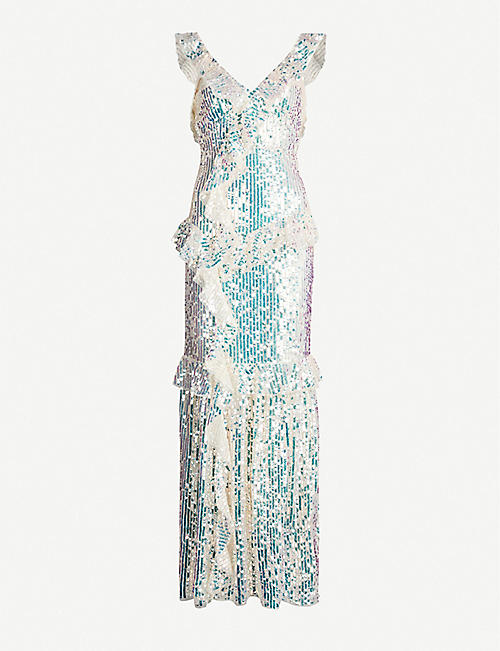 b8aea2418f29 NEEDLE AND THREAD Scarlett frilled V-neck sequinned gown