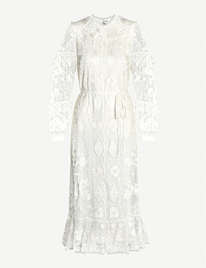 NEEDLE AND THREAD Ellie embroidered tulle and lace midi dress