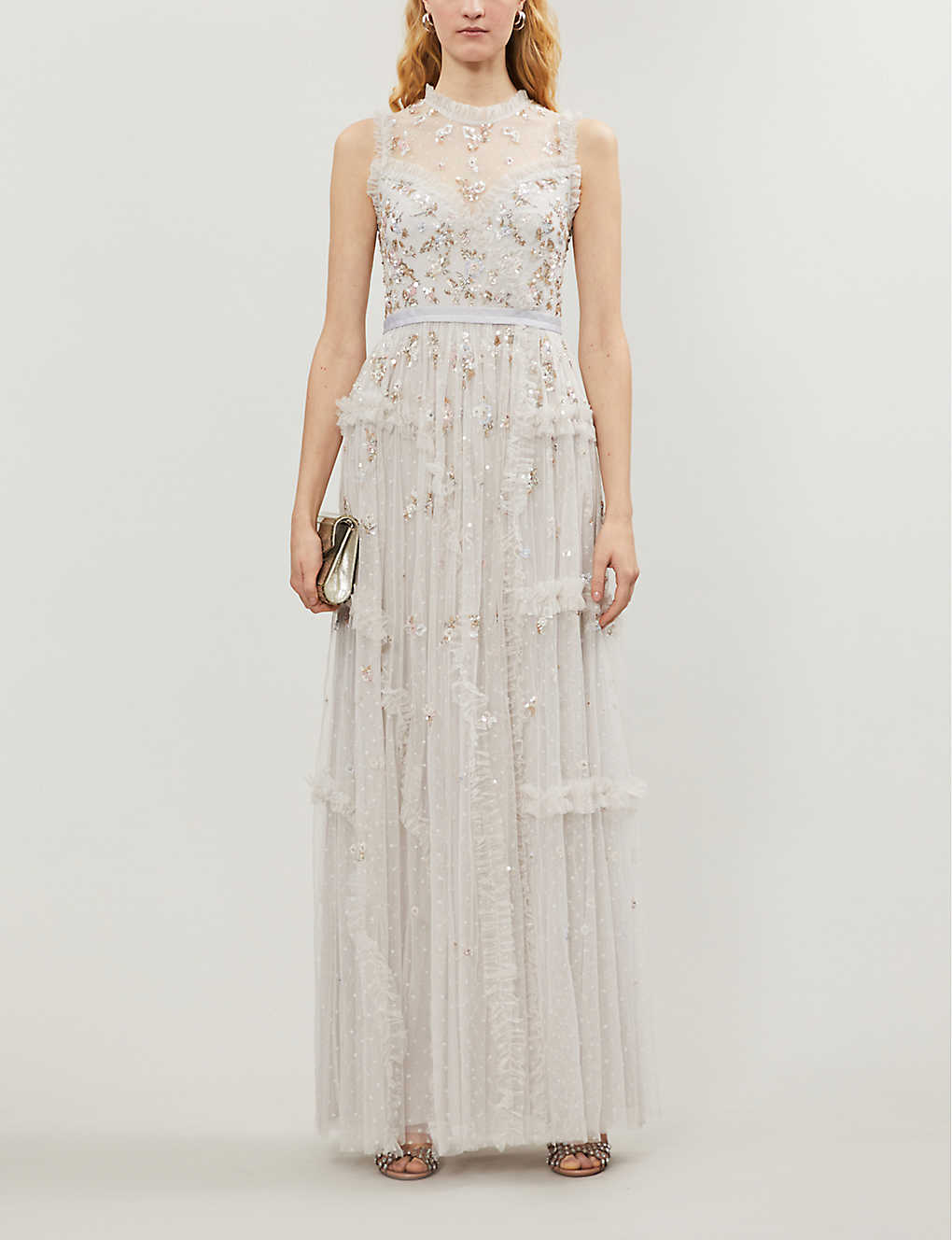 NEEDLE AND THREAD: Shimmer ditsy tulle maxi gown