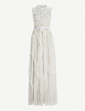 NEEDLE AND THREAD Shimmer ditsy tulle maxi gown