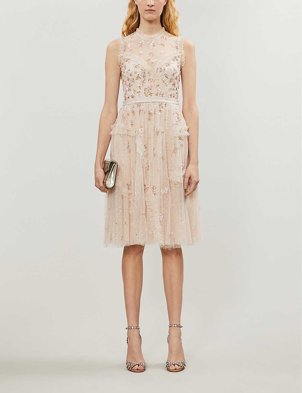 NEEDLE AND THREAD: Shimmer ditsy tulle midi dress
