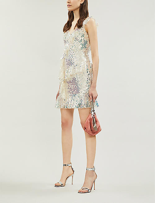 NEEDLE AND THREAD Scarlett ruffled-trim sequinned mini dress