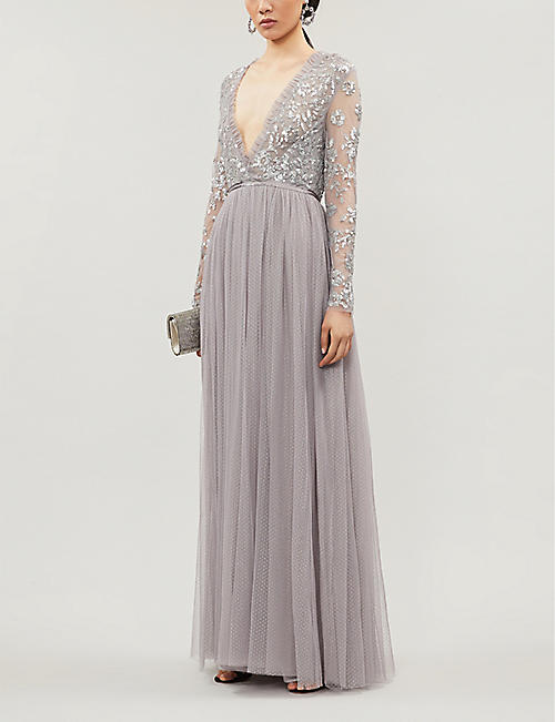 NEEDLE AND THREAD Ava V-neck sequin-embellished tulle maxi dress