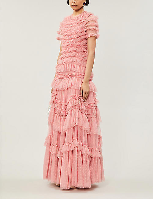 NEEDLE AND THREAD Wild Rose ruffled tulle gown