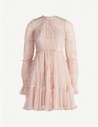 NEEDLE AND THREAD: Anya ruffled embellished tulle mini dress