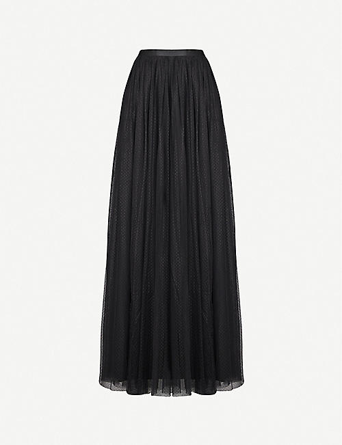 NEEDLE AND THREAD Dotted mesh maxi skirt