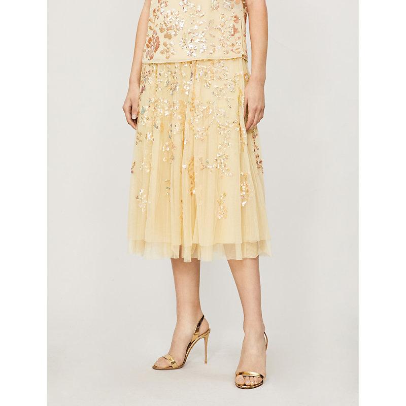 NEEDLE & THREAD | Valentina Sequin-Embellished Tulle Skirt | Goxip