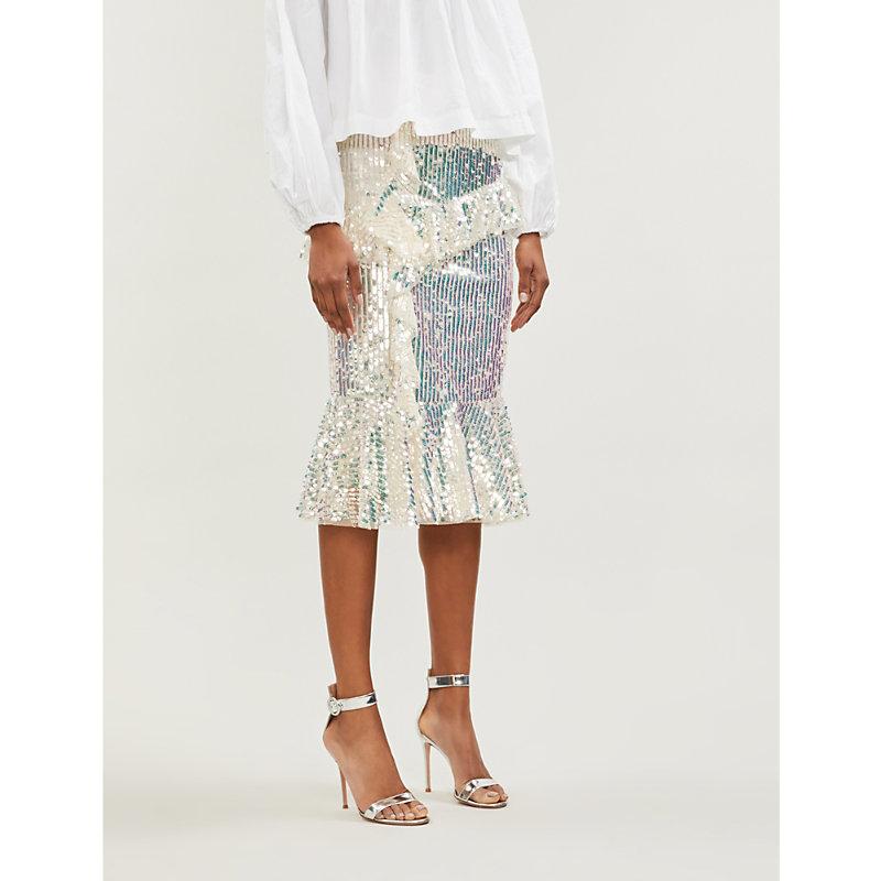 NEEDLE & THREAD | Scarlett Ruffled-Trim Sequinned Midi Skirt | Goxip