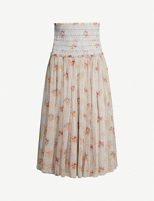 NEEDLE AND THREAD Think Of Me floral-print mesh midi skirt