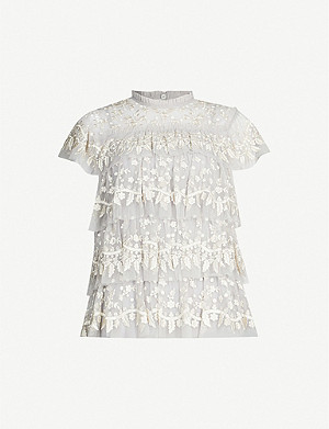 NEEDLE AND THREAD Angelica floral-embroidered tulle and lace top