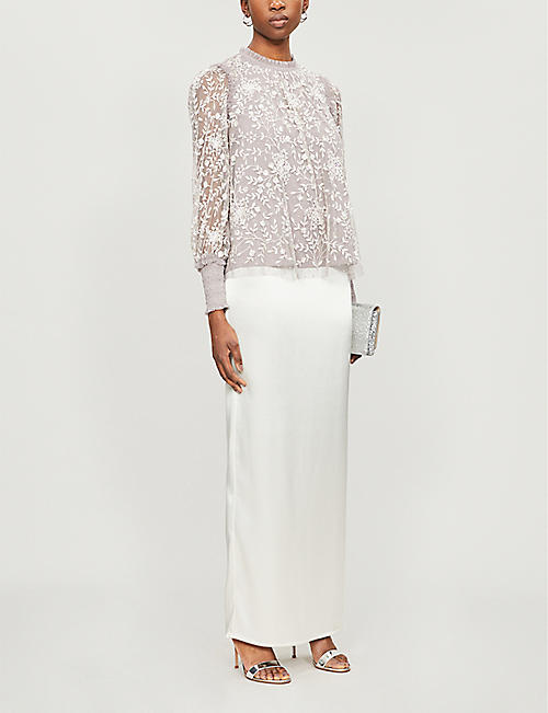 NEEDLE AND THREAD Whitehorn floral-embroidered sequinned tulle top