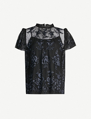NEEDLE AND THREAD Ashley floral-embroidered tulle top