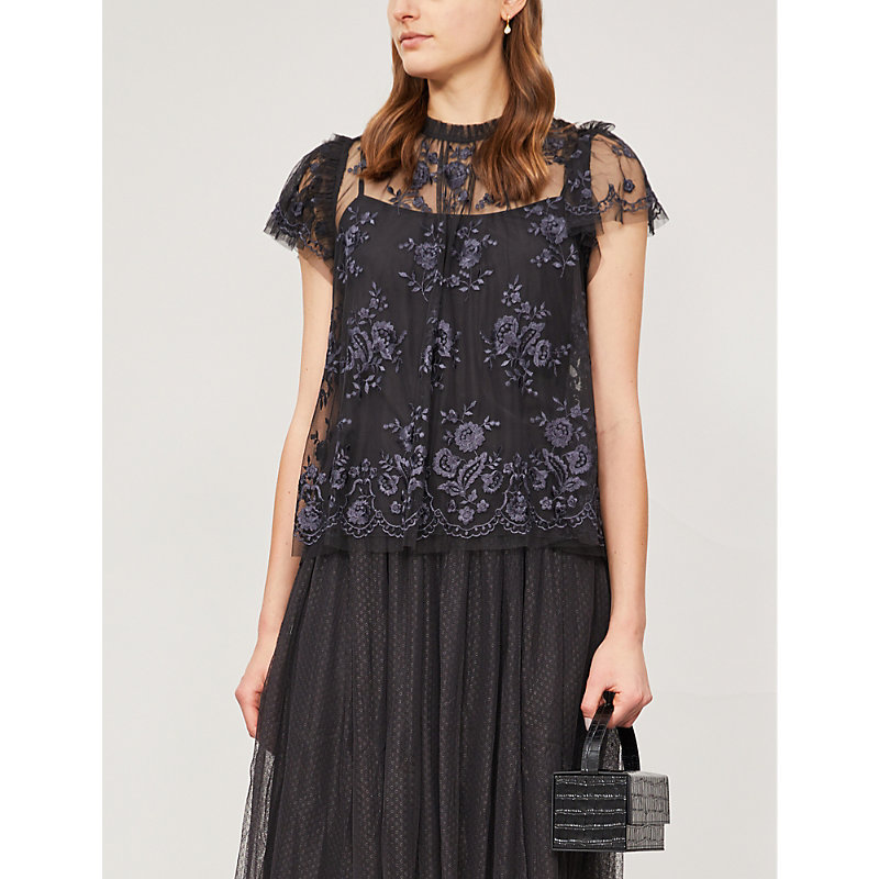 NEEDLE & THREAD | Ashley Floral-Embroidered Tulle Top | Goxip