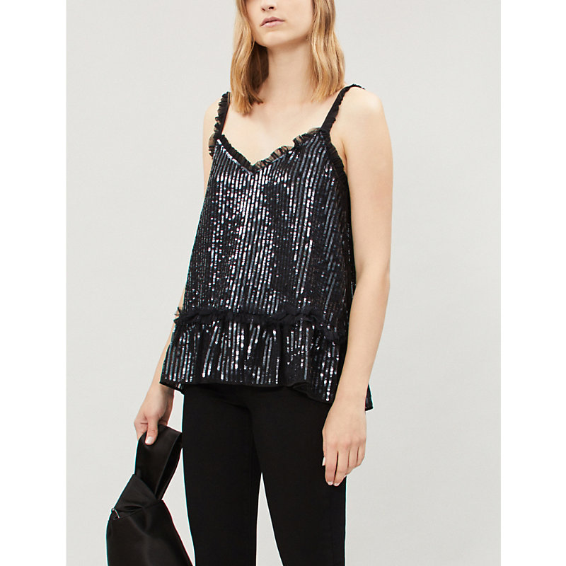 NEEDLE & THREAD | NEEDLE AND THREAD Ladies Black Gloss Sequin And Mesh Top, Size: XS | Goxip