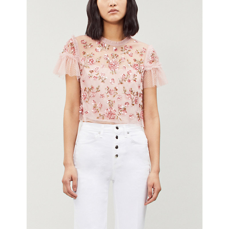 NEEDLE & THREAD | NEEDLE AND THREAD Ladies Rose Pink Carnation Sequin Tulle Cropped Top 12 | Goxip