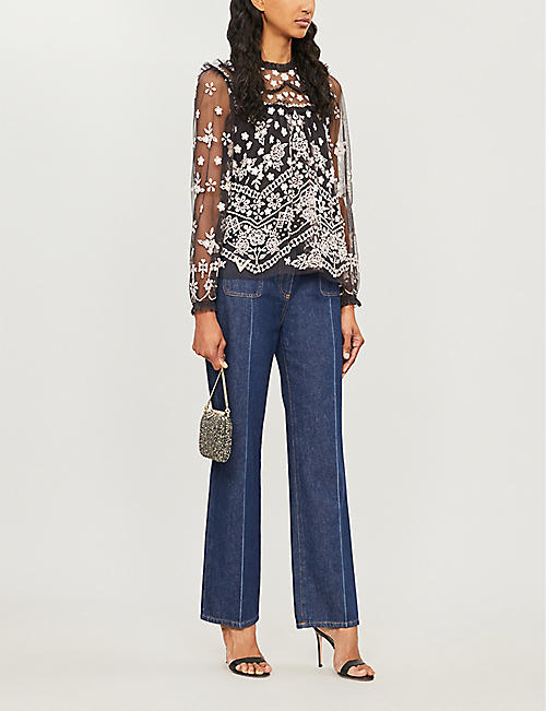 NEEDLE AND THREAD Esme floral-embroidered chiffon top