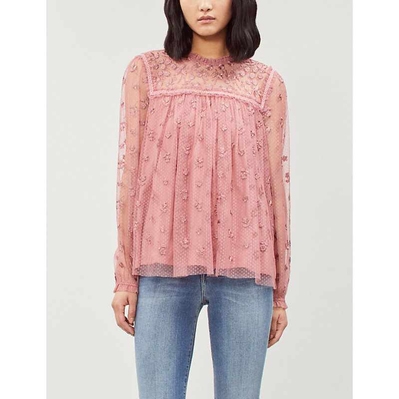 NEEDLE & THREAD | NEEDLE AND THREAD Ladies Rouge Pink Reflection Ditsy Fit-And-Flare Tulle Top 12 | Goxip