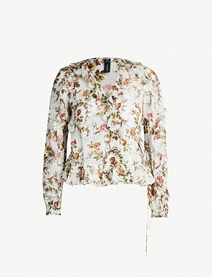 NEEDLE AND THREAD Garland floral-print chiffon top