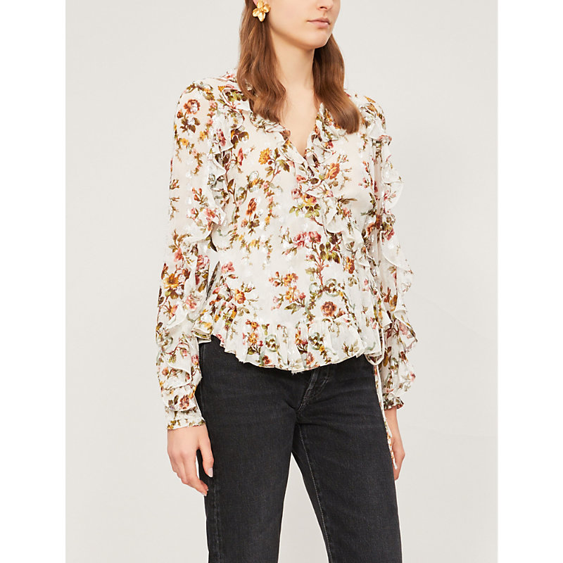 NEEDLE & THREAD | Garland Floral-Print Chiffon Top | Goxip